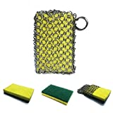 Cast Iron Cleaner with Wood Pulp Sponges, Stainless Steel Anti-Rust Chainmail Scrubber for cast Iron Skillet,cookware,pan,counters, Sinks- Oil Free,no soap Need,pan Scraper for Home,Camping and BBQ