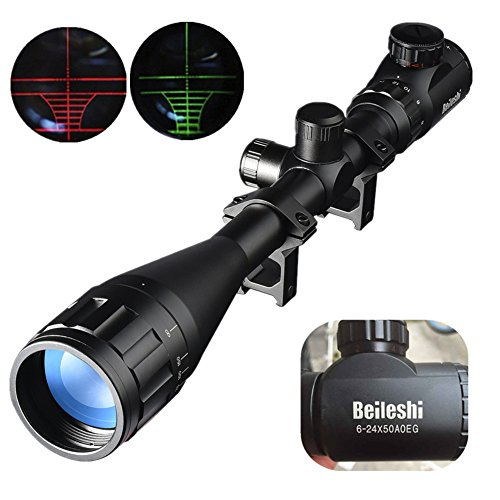 Beileshi 6-24X50mm AOEG Optics Hunting Rifle Scope Red/Green Illuminated Crosshair Gun Scope With Flip Up Scope