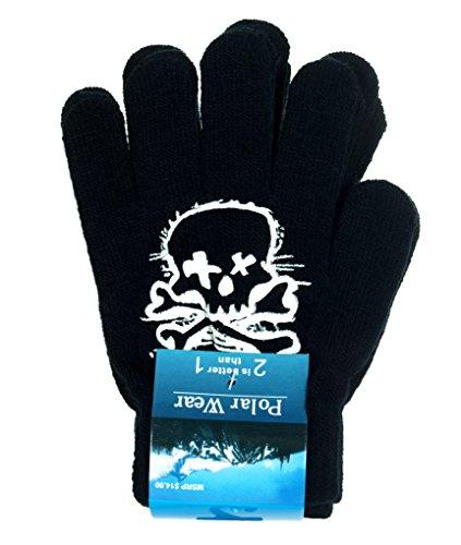 [Boy's Skull & Crossbones Thin Knit Gloves 2-Pack (White)] (Urban Vampire Costume)