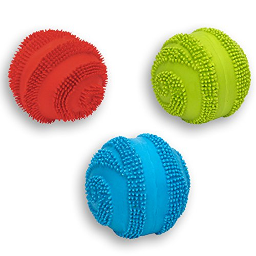 Latex Spiny Ball with Squeaker Dog Toy Size:Pack of 3 Color:Assorted (Latex Zanies)