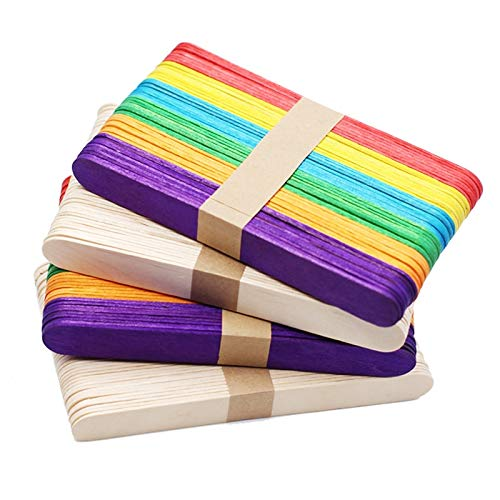 Moonnight Store 5000pcs/lot Colored Wooden Popsicle Sticks Natural Wood Ice Cream Sticks Kids DIY Hand Crafts Art Ice Cream Lolly Cake Tools (Wood) by Moonnight Store (Image #2)
