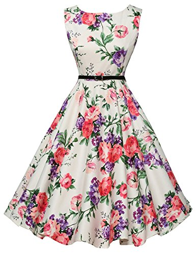 Boat Neck Pin Up Vintage Sundress for Women Size 3X F-21 All Over Floral Embroidered Skirt