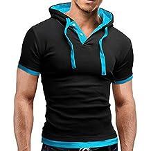 Zawapemia Mens Short Sleeve Polo T-shirt Drawstring Hoodies Shirt