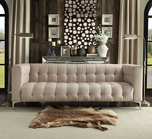 Iconic Home Capone Modern Biscuit Tufted Stone Linen Sofa with Silver Tone Metal Y-Legs