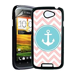Anchor Baby Pink Zig Zag Circle Hipster HTC One S Case - Fits HTC One S