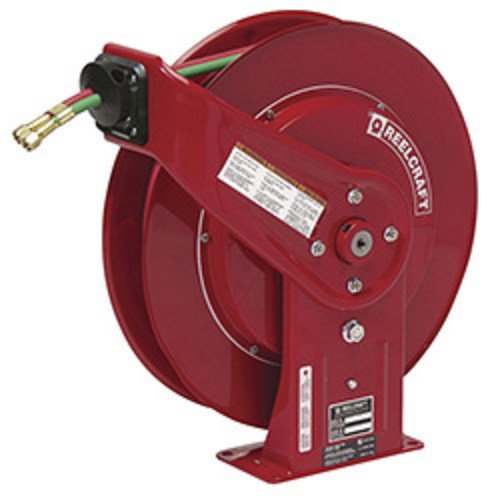 Reelcraft TW7450 OLP Twin 1/4-Inch by 50-Feet Spring Driven Hose Reel for Oxygen/Acetylene Gas Welding