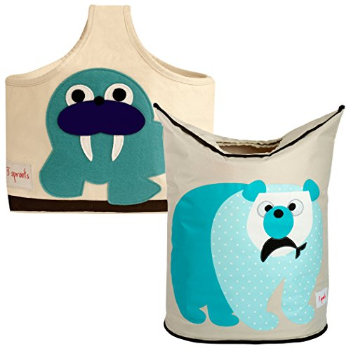 3 Sprouts Storage Caddy and Laundry Hamper, Walrus/Polar