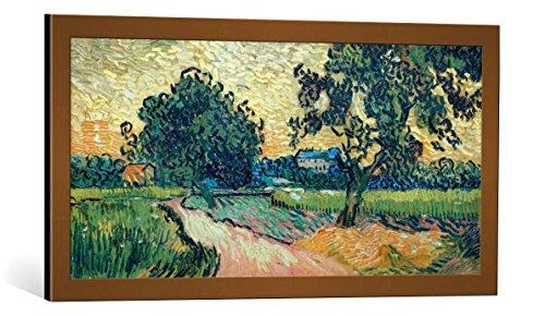Stichting Van - kunst für alle Framed Art Print: Vincent Van Gogh Zwei Birnbäume Schloß von Auvers Landschaft Dämmerung… - Decorative Fine Art Poster, Picture with Frame, 33x16 inch, Copper Brushed
