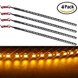 EverBright® 4-Pack Amber 30CM 1210 32-SMD DC 12V Knight Rider Flexible LED Strip Light For Car motorcycles Decoration Interior Exterior Atmosphere Lamp Bulbs with built-in 3M Tape