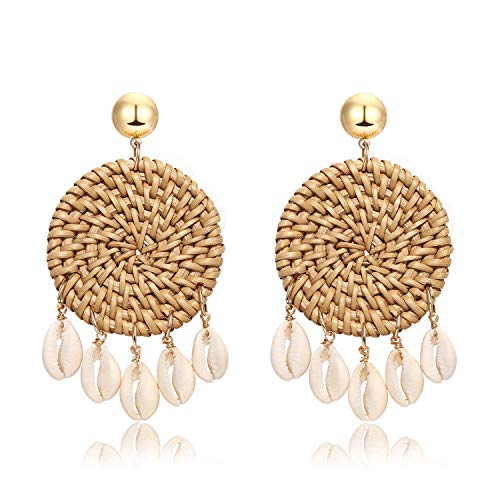 Weave Straw Double Disc Drop Earrings Boho Rattan Dangle Statement Earrings (disk shell)