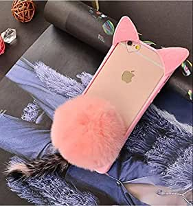 iPhone7 Plus Shell, OMORRO Newest Fashion 3D Cute Cat Ear Fluffy Plush Villi Warm Hair Ball Tail Bumper Ultra Thin Slim Anti-Scratch Protective Cover Case for iPhone 7Plus Pink