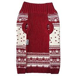Blueberry Pet Vintage Festive Red Christmas Reindeer Holiday Festive Dog Sweater, Back Length 12\