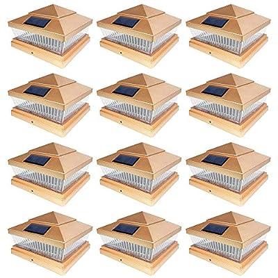 iGlow 12 Pack Bronze/Copper/White 6 x 6 Solar SMD LED Post Deck Cap Square Fence Light Landscape PVC Vinyl Wood