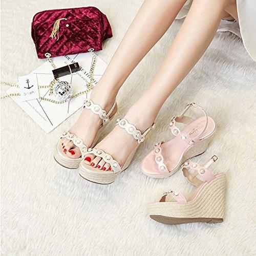 HY Couleur Blanc 35 weave Mode pente hauts vintage talons féminines perle nouvelles de sandales d'été Blanc femmes à taille sandales r4xnrZ