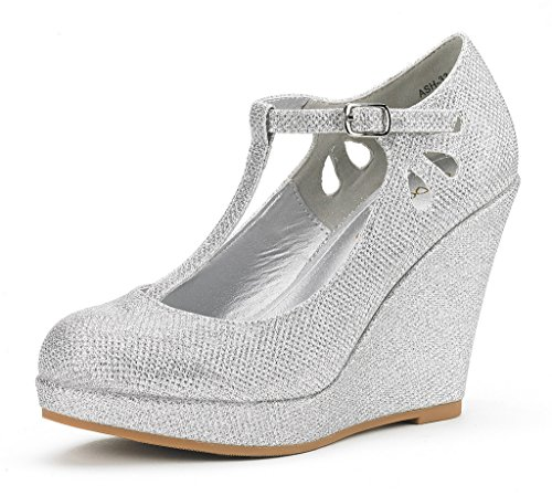DREAM PAIRS Women's ASH-33 Silver Glitter Wedge Heel Platform Pump Shoes - 6 M US