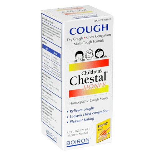 Boiron Chestal Homeopathic Cough Syrup, Children's, Honey, 4.2-Ounce (125 ml) (Pack of 3) -