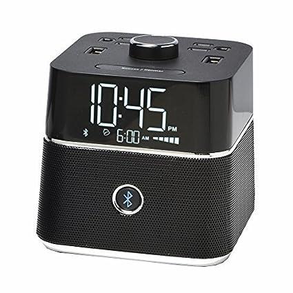 Brandstand | CubieBlue | User Friendly & Convenient Alarm Clock Charger | 2 USB Ports | 2 Tamper Resistant Sockets | Bluetooth Speaker