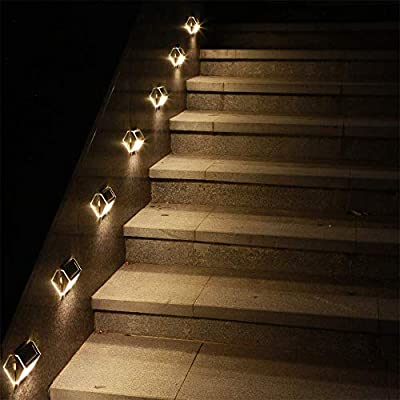 Solar Deck Lights, KASUN Super Bright LED Walkway Light Stainless Steel Waterproof Outdoor Security Lamps for Patio Stairs Garden Pathway