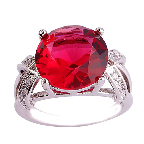 (Empsoul 925 Sterling Silver Natural Novelty Plated 6.5ct Pink Tourmaline Topaz Wedding Ring)