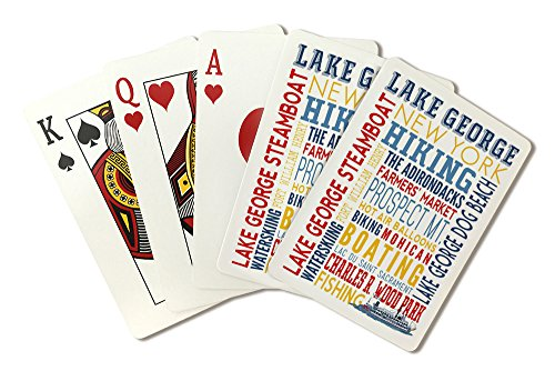Lake George Steamboat, New York - Typography (Playing Card Deck - 52 Card Poker Size with Jokers) by Lantern Press
