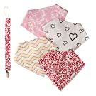 """Baby Bandana Drool Bibs for girls, Pack of 4 Organic Cotton Bibs, with Free Matching Pacefier Clip """"Elegante Set"""" Great Shower gift by Arimy Baby"""