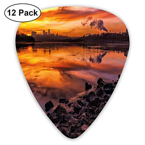 - Guitar Picks 12-Pack,USA Missouri Kansas City Scenery Of A Sunset Lake Nature Camping Themed Art Photo