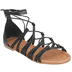Womens Summer Gladiator Ankle Strappy Lace Up Sandal Flat (Beige Slingback) 06.5