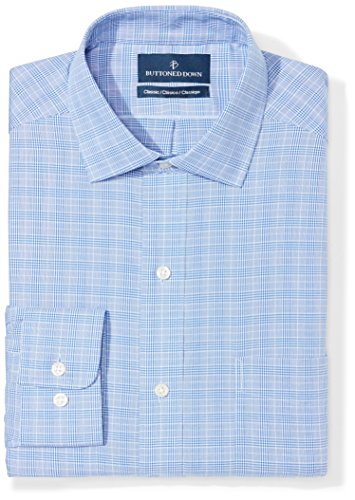 - BUTTONED DOWN Men's Classic Fit Spread-Collar Non-Iron Dress Shirt, Blue Glen Plaid, 16