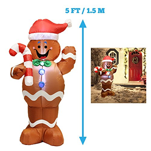 5ft Self-Inflatable Gingerbread Man with Candy Canes Perfect for Waving Blow Up Yard Decoration, Indoor Outdoor Yard Garden Christmas Decoration and Christmas Party Favor Decoration by (Gingerbread Man Candy Cane)