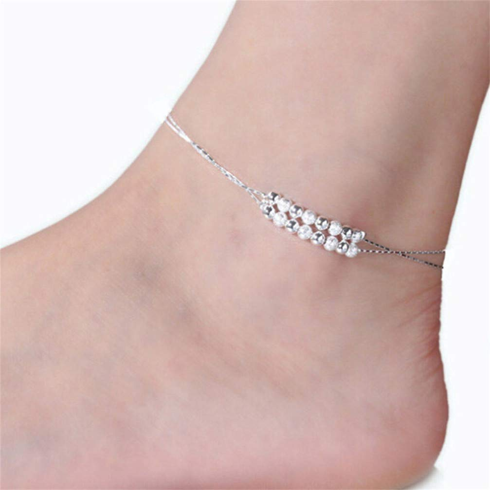 Myhouse Silver Color String Anklet Bracelet Women Summer Charm Beach Ankle Chain, Style 2