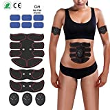INKERSCOOP Abdominal Muscle Toner, EMS ABS Trainer Body Fit Toning Belt Wireless Body Gym Portable Unisex Fitness Training Gear for Abdomen/Arm/Leg Training Workout Home Office - Extra 6 Gel Pads