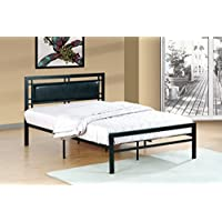 Furniture World Frank Contemporary Metal Bed with Upholstered Headboard, Full, Black