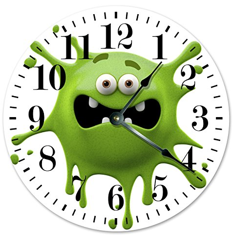 - GREEN MONSTER SMILEY CLOCK Large 10.5
