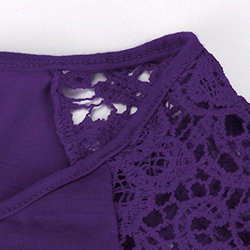 FNKDOR Mujeres más S-5XL Mujeres Irregular Hem manga corta camisa suelta Púrpura