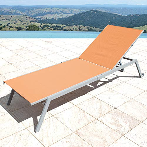Corvus Torino Sling Fabric Reclining Outdoor Chaise Lounges (Set of 4) Orange