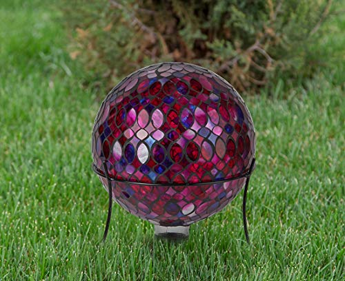 Lily's Home Colorful Mosaic Glass Gazing Ball, Designed with a Stunning Holographic Petal Mosaic Pattern to Bring Color to Any Home and Garden, Red, Blue & Purple (10 Inches Dia.) by Lilyshome (Image #1)