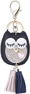 WINOMO Hibou Tassel Porte-clés Pendentif charm Porte-clés Mode Femme Décoration de sac (Noir)