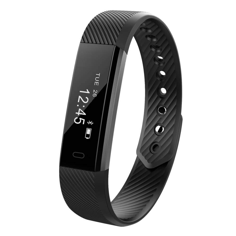 Fitness Tracker, Waterproof IP67 Smart Wristband Color Screen Activity Tracker Pedometer Vibration Alarm Phone SMS Note iOS Android Phone-Black