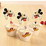 Pack of 24(12pcs Wrappers +12pcs Toppers) Cute Micky Mouse Cupcake Wrappers Cakes Decoration Birthday Party Favors for Kids Festa Cake Toppers Picks Kids Party Supplies (Micky)