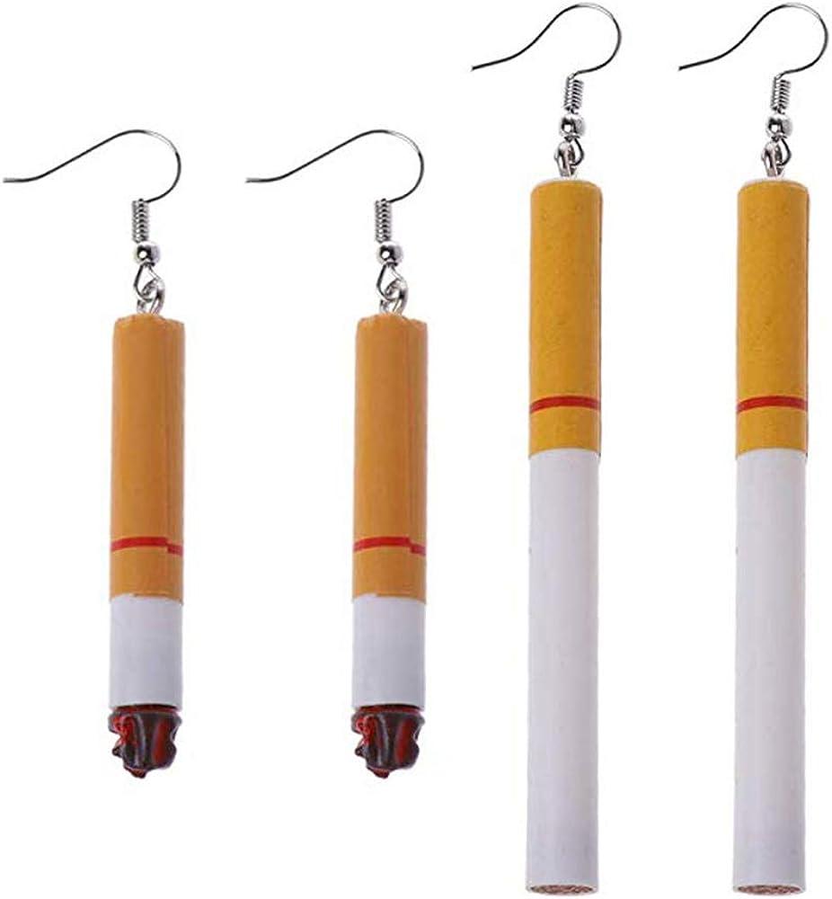 inherited 2 pares Pendientes con forma de cigarrillo de imitación, divertidos, oreja, chic, creativo, Pendientes de resina acrílica con simulación de cigarrillos Wacky Fun Lady Fashion Jewelry