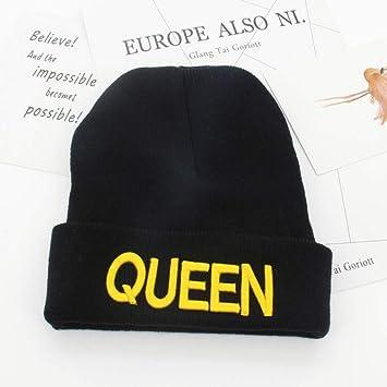 XJDMG Sombrero de Punto Wool Hat Gorra Lindo Bordado Rey Reina ...