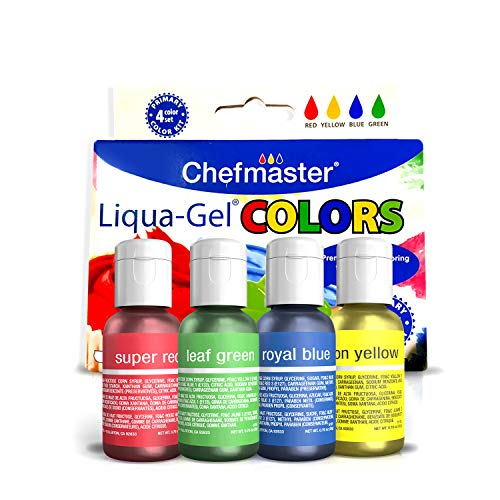 Chefmaster Food Coloring Liqua Gel Set (4-Pack), Vegan-Friendly Gluten-Free Food Dye for Easter Cake Creations & Easter Cookies, 0.7oz Red Green Yellow & Blue Food Colors for ()