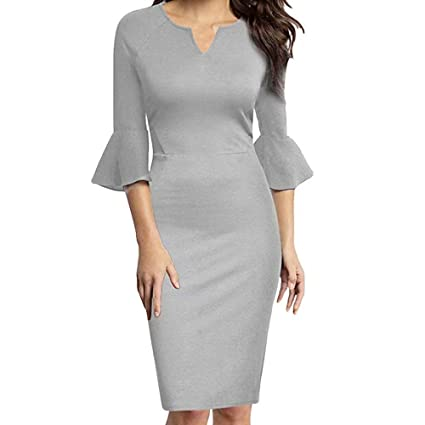 Amazon.com  Women Office Work Wear Dress Sexy V-Neck Flounce Bell 3 4 Sleeve  Fashion Casual Elegant Pencil Dress  Toys   Games 542fa9feb346