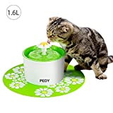 Pedy Cat Water Fountain Flower Fountain - Automatic Pet Water Dispenser - Pet Water Fountain for Cats and Dogs with Filter & Silicone Mat - Green