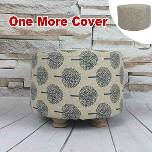 Sino Banyan Feet Stool/Ottoman with 1 More Cover,Soft Quick Detachable Cushion,Tree & Beige Ready Made Pine Trees