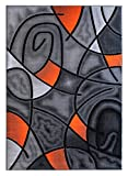 Masada Rugs, Modern Contemporary Area Rug, Orange Grey Black (5 Feet X 7 Feet)