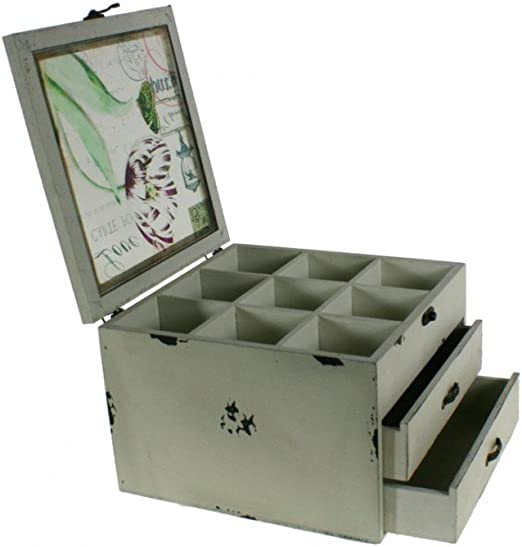 CAL FUSTER - Costurero o Caja Grande de Madera con separadores y Dos cajones Color Blanco Envejecido. Medidas totales: 17x24x24 cm.: Amazon.es: Hogar