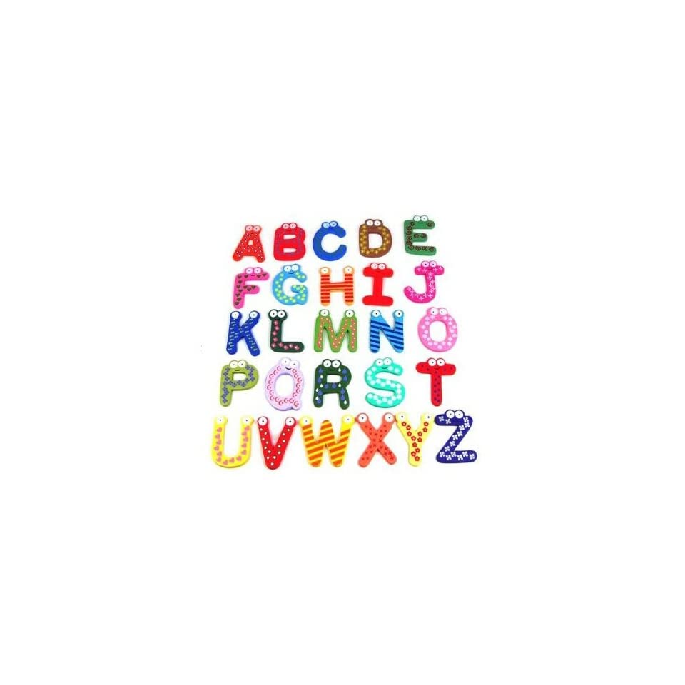 SODIAL Funky Fun Colorful Magnetic Letters A Z Wooden Fridge Magnets Kid toys Education