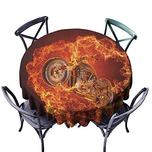 Manly Oil-Proof and Leak-Proof Tablecloth Chopper Bike Bursting Through Fire Motorbike Motorcycle Dangerous Sport Art Easy Care D51 Dark Orange Marigold