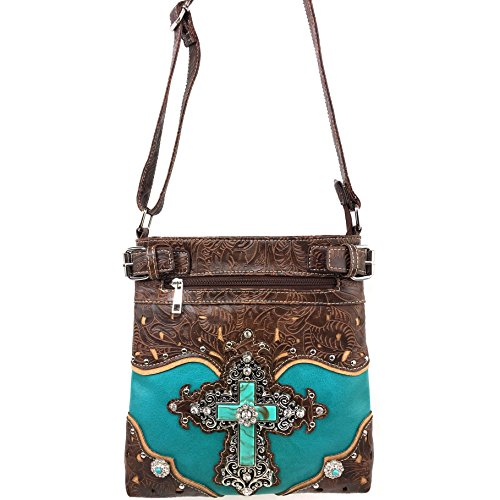 Justin West Camouflage Tree Bling Rhinestone Angel Wing Cross Shoulder Concealed Carry Handbag Purse (Turquoise Messenger Only)
